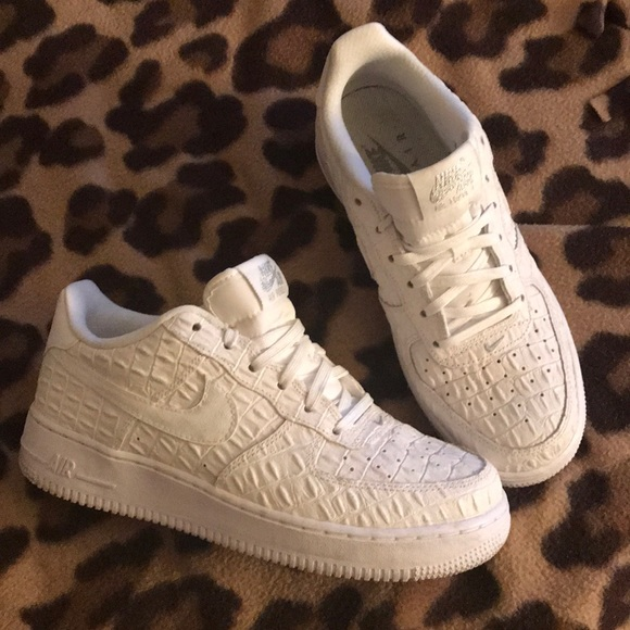 White Snakeskin style Nike Air Force One low tops